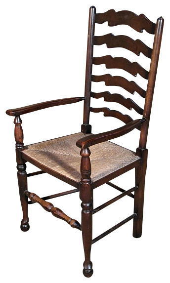 Antique English Oak Ladder Back Arm Chair Traditional Dining