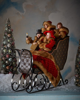 Sleigh With Carolers Traditional Christmas Decorations