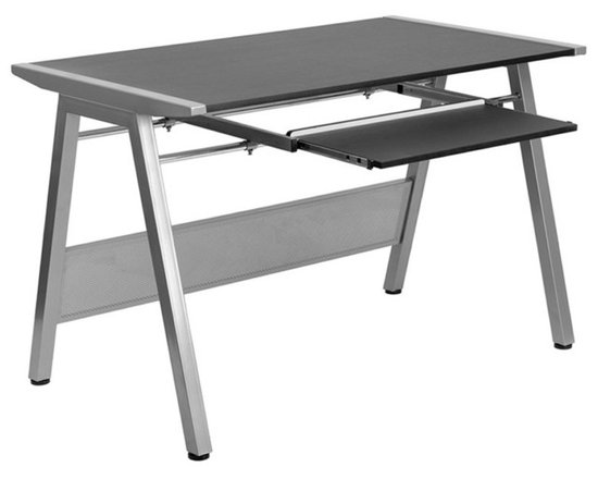 Flash Furniture - Flash Furniture Computer Desk with Pull Out Keyboard in Black - Flash Furniture - Computer Desks - NANJN2837WGG - This attractive Computer Desk provides a large work surface to allow you to use your computer and writing materials with room to spare. The frame connects