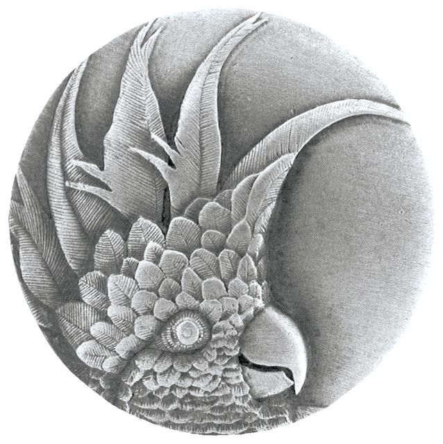 Notting Hill Cockatoo (Large - Left side) Knob - Antique Pewter tropical-cabinet-and-drawer-knobs
