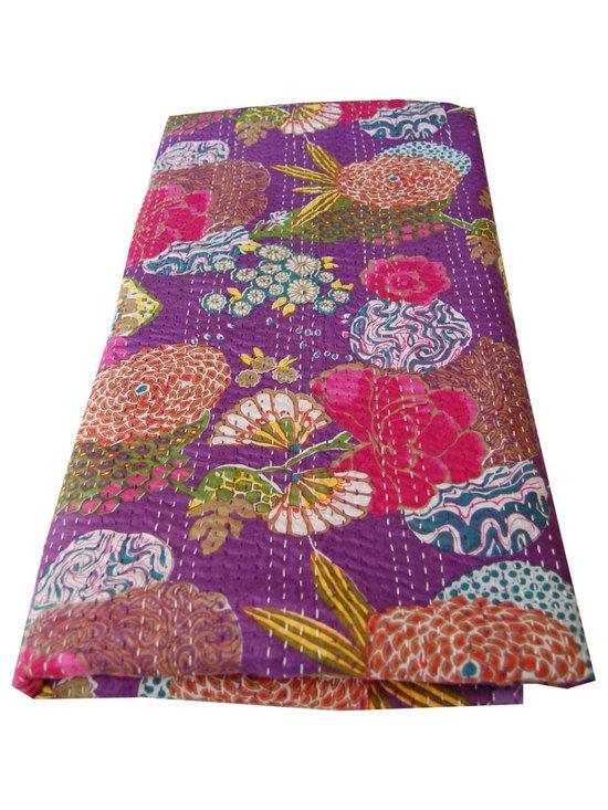 Purple Kantha Stitch Printed Throw -