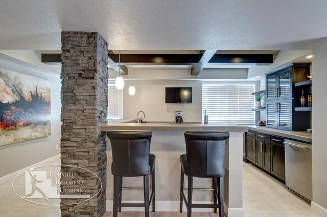 Basement Bar & Stools contemporary-basement
