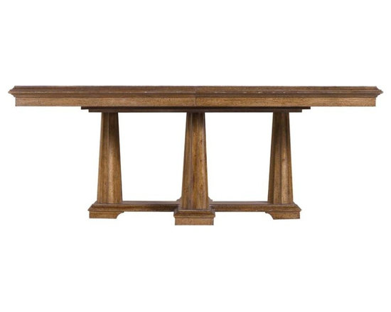 Stanley Furniture - Archipelago-Calypso Pedestal Table - A walnut burl inlay imparts a rich complexity to the repeating arc-motif of the Calypso Pedestal Table. Resting on a cross-shaped base with four sturdy fluted columns, the design is decidedly elegant without being overly formal or ornate. In fact, the true charm of the piece lies in its focus on the quality and appearance of the wood, making it the center of attention.