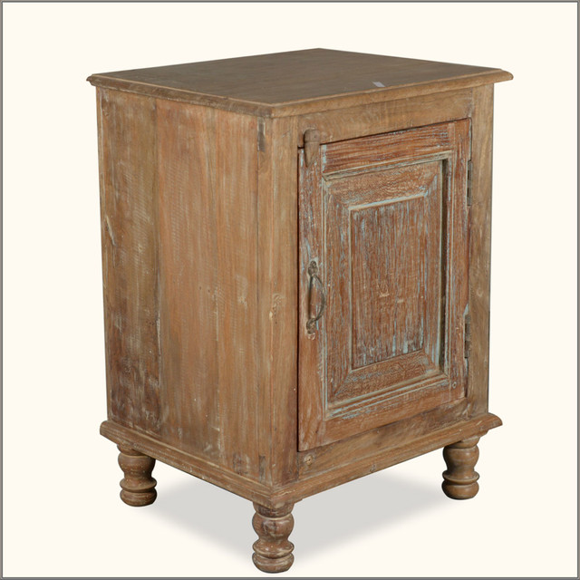 Rustic Farmhouse Reclaimed Wood Night Stand End Table Cabinet - Side ...