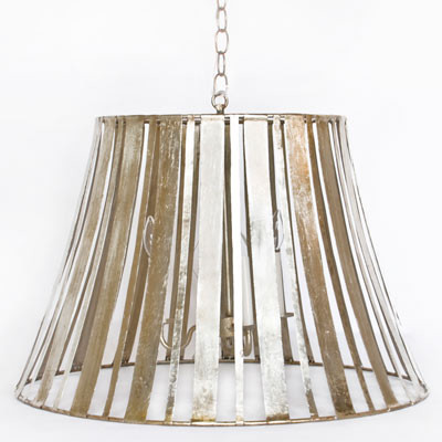 Worlds Away Tux S Striped Silver Leaf Pendant Large eclectic-pendant-lighting