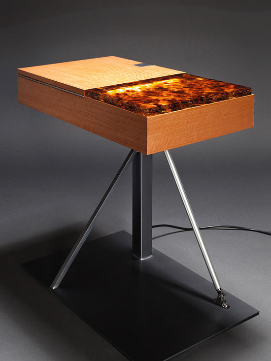 """Amber Glow Side Table - not2big® designs furniture combining the warmth of wood juxtaposed with the strength of steel and other repurposed materials to create a clean, modern aesthetic. This side table created from figured anegre, hand-made art glass and steel showcases not2big's ability to """"think out of the box"""". Blending hardwood, steel and recycled art glass, this table also uses LED lighting, controlled by a 2 step dimmer switch, back lighting the art glass to a warm glow. Stewart Tilger Photography"""