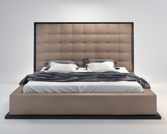 Modloft - Ludlow Contemporary & Modern Bed by ModLoft - The awe-inspiring Ludlow leather bed commands instant attention when entering a room. The lavish button-tufted leather headboard stands five feet tall, elegantly framed in a wood border to match any decor. The smooth leather headboard seamlessly blends into its matching leather base with a wood border along the bottom edge. The mattress sits snuggly atop a solid pine-slat base for stylistic durability and added comfort. Platform height measures 14 inches (3 inch inset). Available in California-King, Standard King, and Queen sizes. Color combinations available in Wenge/White, Wenge/Grey, or Walnut/White. Bonded leather material. Assembly required. Mattress not included. Imported.