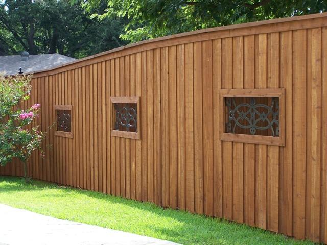 Board on Board Cedar Fence Wrought Iron Niches - dallas - by Texas ...