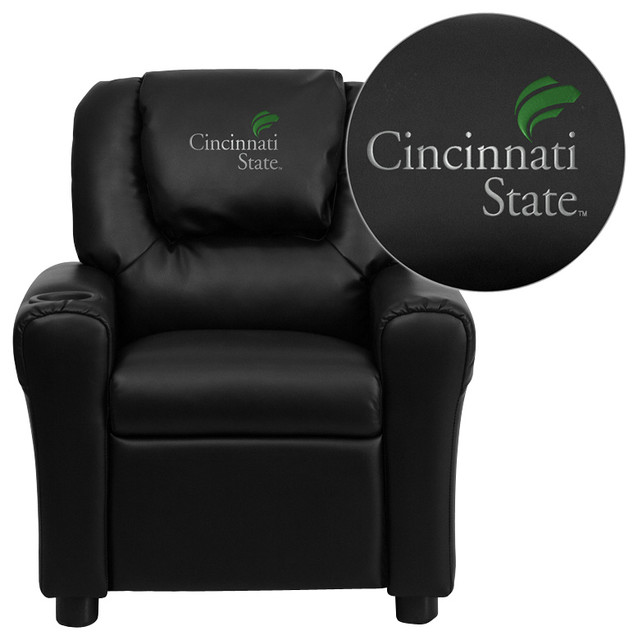 Flash Furniture Black Vinyl Kids Recliner traditional-chairs