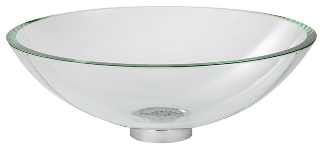 Dorian Glass Vessel With Sink Riser And Drain In Clear