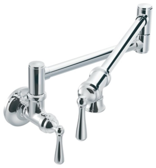 Moen S664 Pot Filler Two Handle Wall Mount Kitchen Faucet In Chrome Traditional Pot Fillers