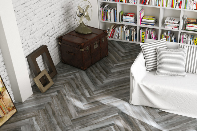Vintage Wood Dark Grey Rustic Wall And Floor Tile
