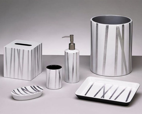 Belle & June - Grass Styx White/Silver Bath Set - The Grass Styx Bath  accessories set is beautiful in white and silver. Fans of luxury bathroom decor will appreciate these fine designer bath accents. This collection of lacquer bath accessories includes everything from an elegant soap dish to a boutique tissue holder, decorative wastebasket and tumbler!