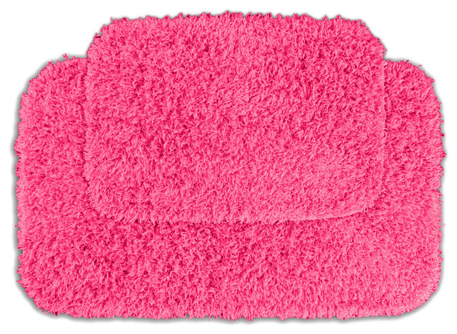 Quincy Super Shaggy Pink Washable Runner Bath Rug Set Of 2 Contemporary Rugs By Michael