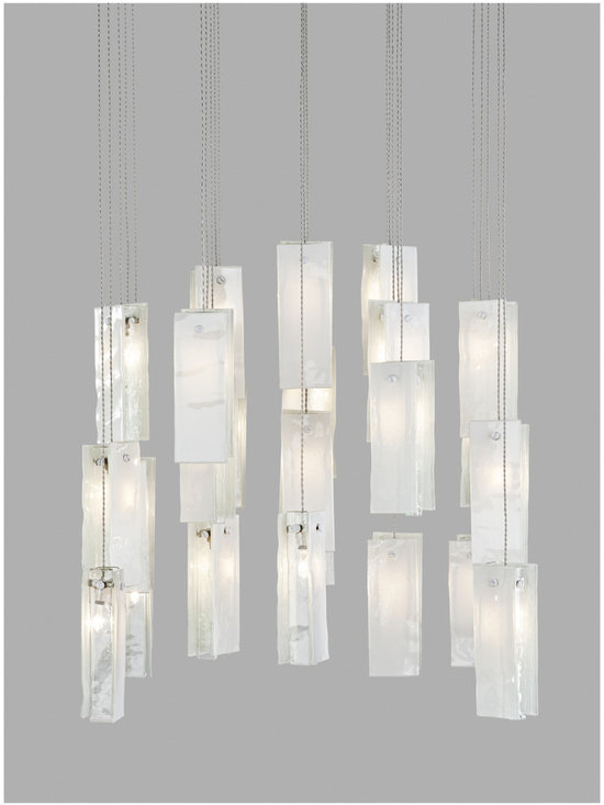 Drops of light- fused glass lighting pendant - Drops of light in a pure white glass, for an elegant design.