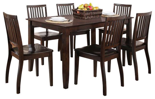 Steve Silver Candice 7 Piece 60x36 Dining Room Set in Dark Espresso contemporary-dining-sets