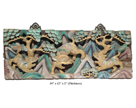 Chinese Vintage Handmade Relief Carving 3 Foo Dogs Motif Decorative Panel - This vintage decorative panel has very complicated relief carving with a motif of 3 Foo Dogs Playing in the Mountain.
