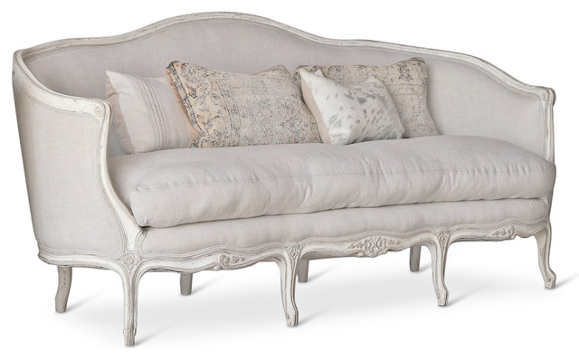 Seraphine french country louis xv distressed oyster white for Louis xv canape sofa