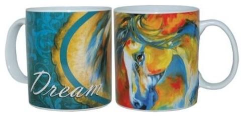 "4 Inch Marcia Baldwin Mustang West ""Dream"" Ceramic Coffee Mug, 14 oz. contemporary-mugs"