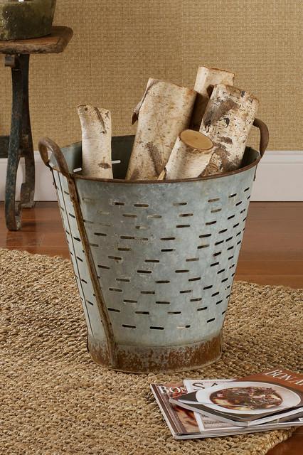 Vintage Metal Olive Basket traditional-baskets