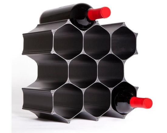 Black WineHive 10-Bottle Modular Wine Rack -