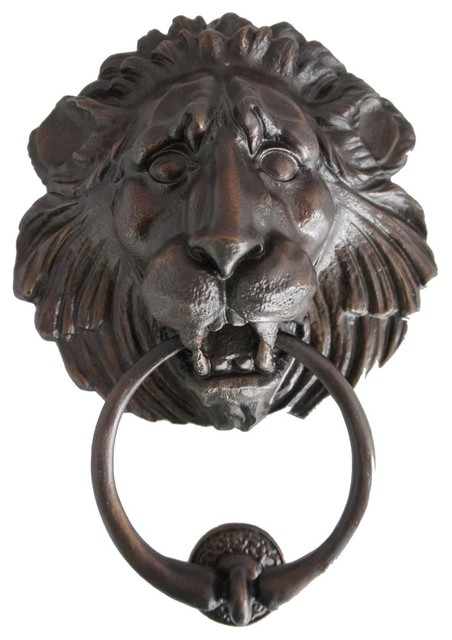 Large Antique Reproduction Bronze Lion Head Door Knocker Traditional Door Knockers By Eron
