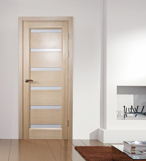 Tokyo white oak modern interior door with frosted glass for Contemporary interior doors