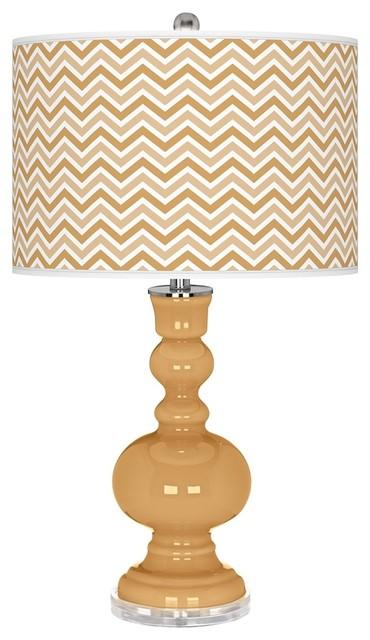 Contemporary Harvest Gold Narrow Zig Zag Apothecary Table Lamp contemporary-table-lamps