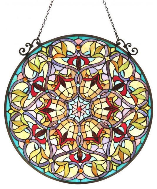 Tiffany Style Victorian Design Round Window Panel contemporary-cellular-shades