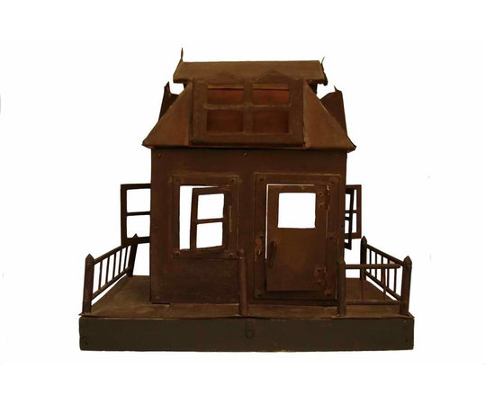 Cottage House Model - Whimsical folk art piece constructed of metal (possibly copper) and wood.  It has eight windows, (four are hinged) and one hinged front door that locks with a latch.