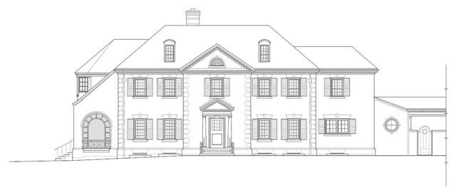 Front house elevation drawing sketch coloring page for Exterior house drawing
