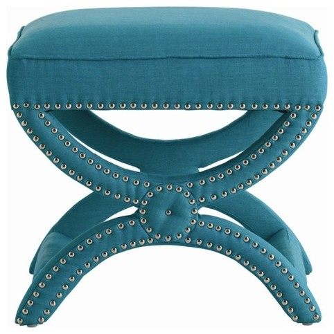 Arteriors Tennyson Turquoise Linen Stool with Nickel Studs contemporary-furniture