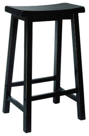 Powell 29 in. Antique Black with Terra Cotta Bar Stool contemporary-bar-stools-and-counter-stools