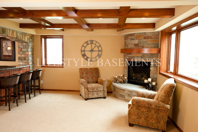 Fireplace traditional basement