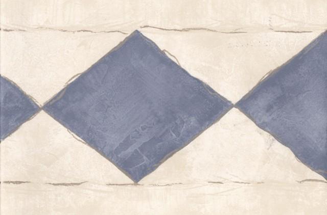 Cream Silver Blue Diamonds Wallpaper Border traditional-wallpaper