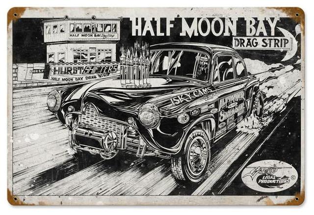 Half Moon Bay Drag Strip Vintage Metal Sign