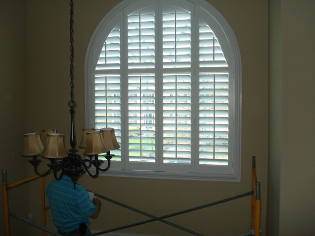 Foyer Window Shutters : Foyer window treatment traditional blinds