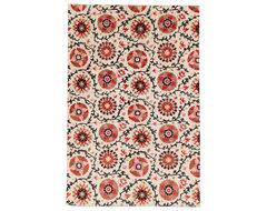 Red And Tan Floral Ikat contemporary-rugs