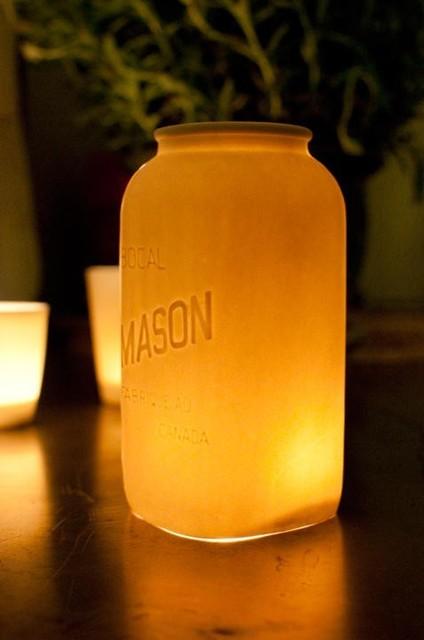 Mason Jar Hurricane Lantern by Alyssa Ettinger eclectic-candleholders