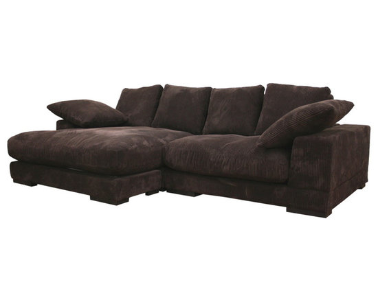 Baxton Studio - Baxton Studio Panos Dual Configuration Fabric Sectional - The dark brown ribbed microfiber and the downy, soft cushioning of this contemporary sectional make this one of our most comfortable seating options, by leaps and bounds! The base of this sectional is in three pieces: a left arm sofa piece, a right arm sofa piece, and a chaise extension, which can be positioned in front of either sofa section for a reversible chaise lounge. A solid wood frame forms a dependably-built modern sofa. The legs are also solid wood, which have been stained black and sealed. All cushions shown are completely removable, and all throw pillows pictured are included with purchase. The fabric upholstery is fully attached and non-removable.