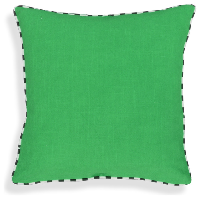 Cotton Throw Pillows with Black and White Piping, Sea Green contemporary-decorative-pillows