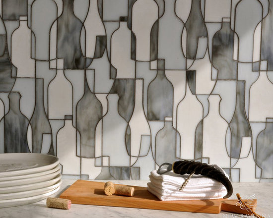 Erin Adams - Bottles - Bottles, a glass waterjet mosaic shown in Moonstone, Opal and Tourmaline, is part of the Erin Adams Collection for New Ravenna Mosaics.