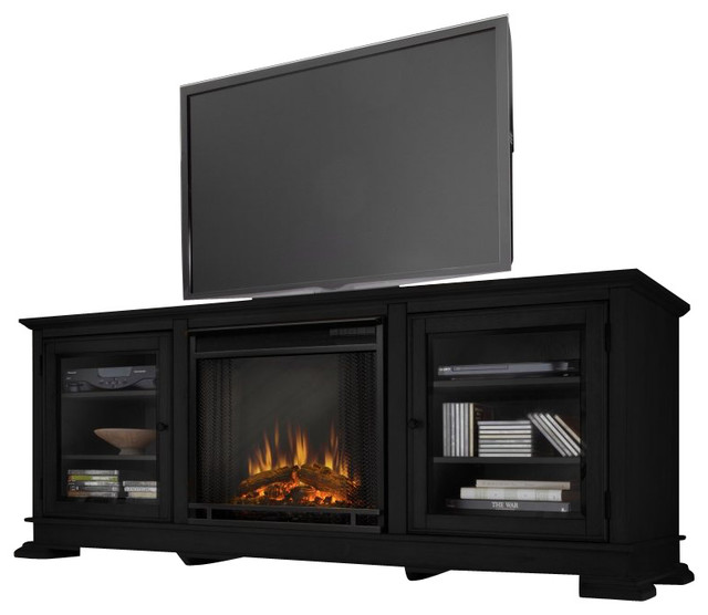 Real Flame Hudson Freestanding Electric Fireplace Tv Stand In Black Transitional Indoor Fireplaces