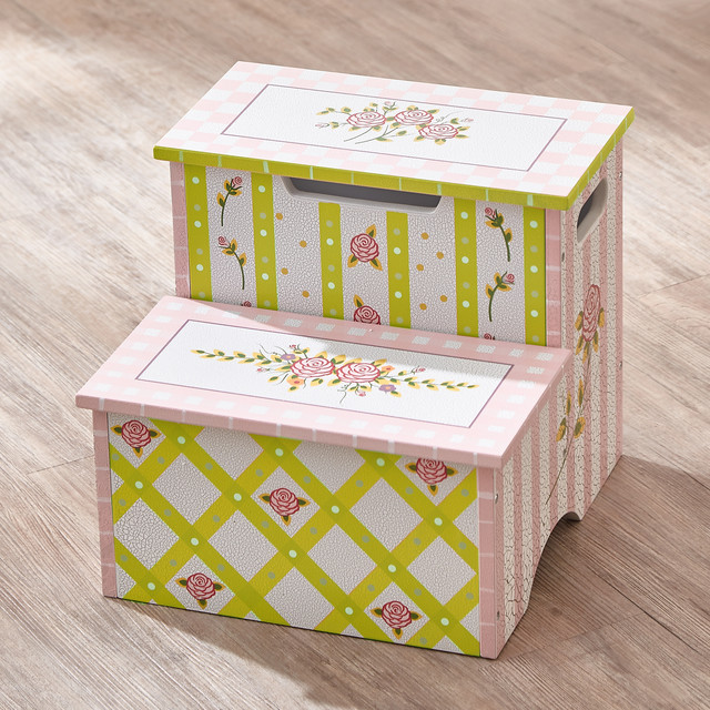 CRACKLED ROSE STEP STOOL WITH STORAGE traditional-kids