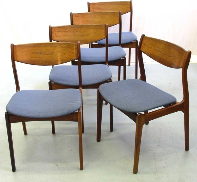 Rosewood Dining Chairs with Blue Upholstered Seats  : modern dining chairs from www.houzz.com size 640 x 590 jpeg 71kB