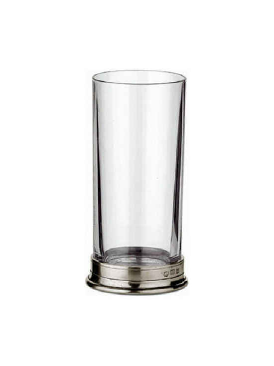"Match - Match Highball-Set of Two - This highball glass is made of crystal and has a pewter base. Dimensions: 2.8D x 6.4""H."