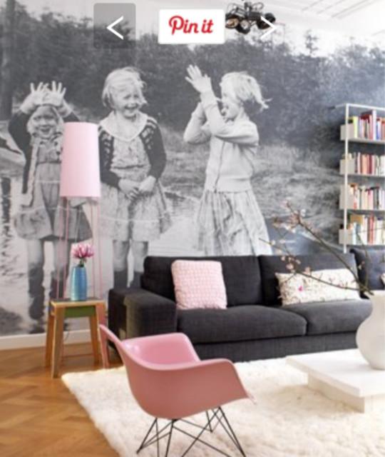 We hang and make wallpaper murals contemporary - Wallpaper living room modern ...