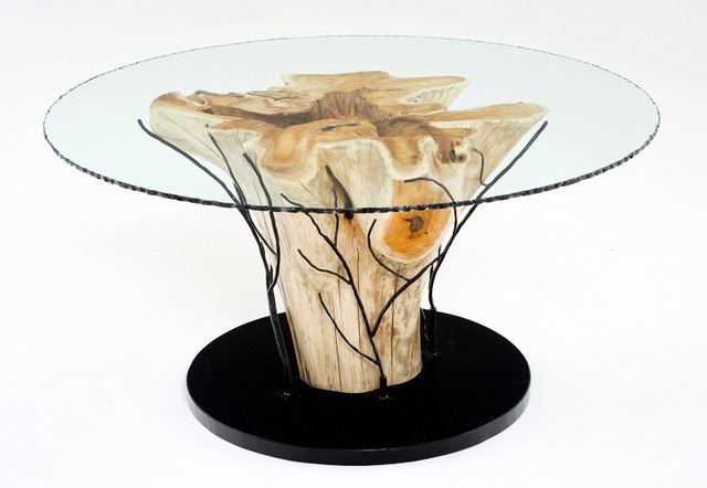 Rustic tree root table eclectic dining tables other for Tree root dining table