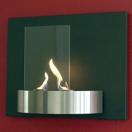 Vivido Wall Mounted Fireplace Tempered Clear Glass Black Heat Resistant and Brus contemporary-indoor-fireplaces