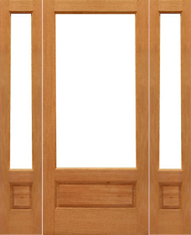 Prehung 1-lite-P/B Patio Brazilian Mahogany Wood 1 Panel IG Glass Sidelights Doo traditional-front-doors